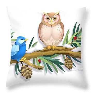 Three Watchful Friends Throw Pillow