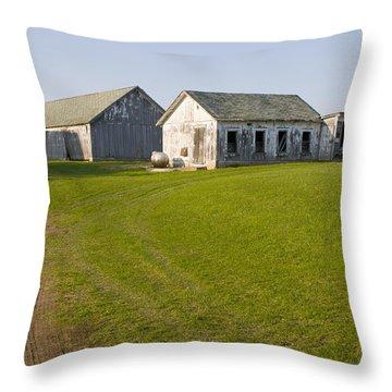 Three Weathered Farm Buildings Throw Pillow