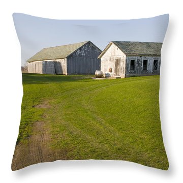 Three Weathered Farm Buildings Throw Pillow