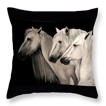 Throw Pillow featuring the painting Three White Horses by Nancy Bradley