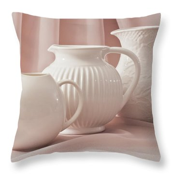 Throw Pillow featuring the photograph Three White Pitchers by Sandra Foster