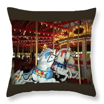Throw Pillow featuring the photograph Three White Ponies by Barbara McDevitt