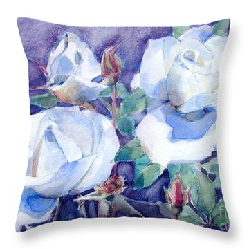 White Roses With Red Buds On Blue Field Throw Pillow