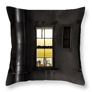 Three Windows And Pipe - The Story Behind The Windows Throw Pillow by Gary Heller