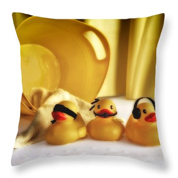 Three Wise Duckies Throw Pillow