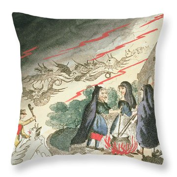 Three Witches In A Graveyard, C.1790s Throw Pillow