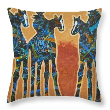 Three With Rope Throw Pillow