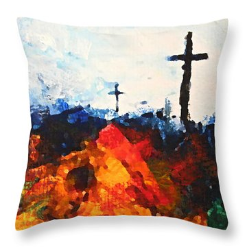 Three Wooden Crosses Throw Pillow