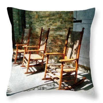 Three Wooden Rocking Chairs On Sunny Porch Throw Pillow by Susan Savad