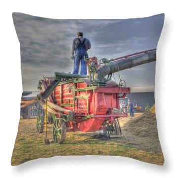 Threshing At Rollag Throw Pillow