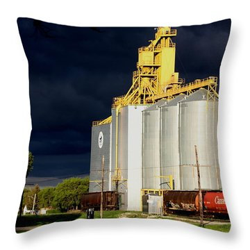 Threatening Thunder  Clouds Over Elevator Throw Pillow