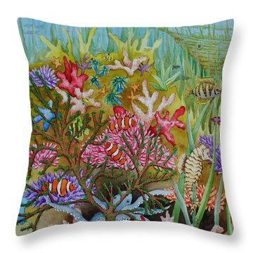 Thriving Ocean -sunken Ship Throw Pillow