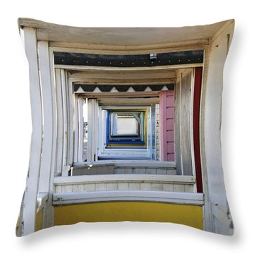 Through The Beach Huts Throw Pillow