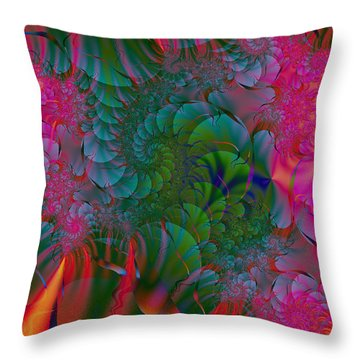 Throw Pillow featuring the digital art Through The Electric Garden by Elizabeth McTaggart