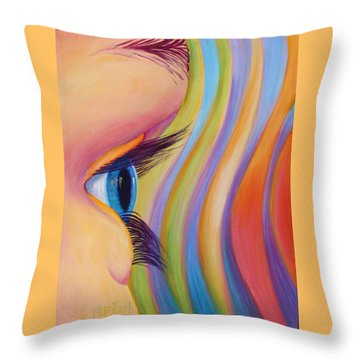 Throw Pillow featuring the painting Through The Eyes Of A Child by Sandi Whetzel