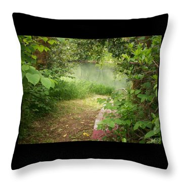 Throw Pillow featuring the photograph Through The Forest At Water's Edge by Absinthe Art By Michelle LeAnn Scott