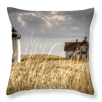Race Point Light Through The Grass Throw Pillow by Brian Caldwell