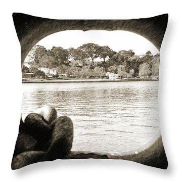 Through The Porthole Throw Pillow by Holly Blunkall