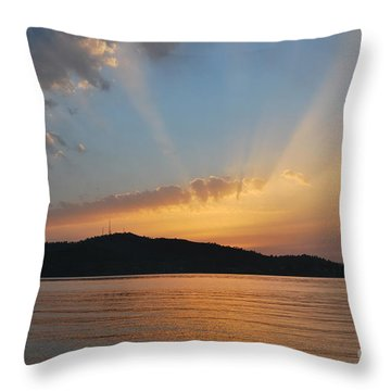 Throw Pillow featuring the photograph Through The Rays by Erhan OZBIYIK