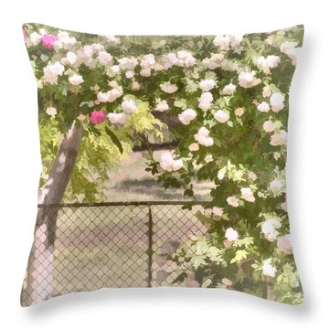 Throw Pillow featuring the photograph Through The Rose Arbor by Elaine Teague