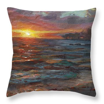 Through The Vog - Hawaii Beach Sunset Throw Pillow