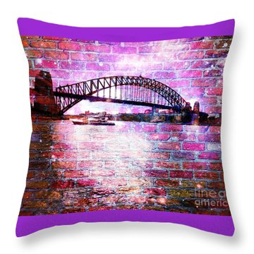 Sydney Harbour Through The Wall 1 Throw Pillow by Leanne Seymour
