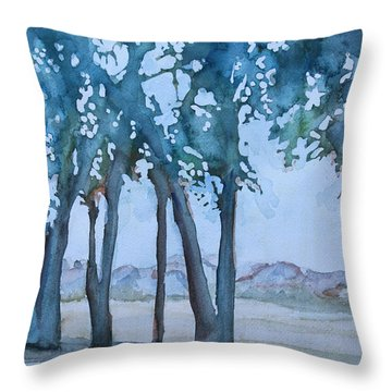 Through The Wind Break Throw Pillow by Jenny Armitage