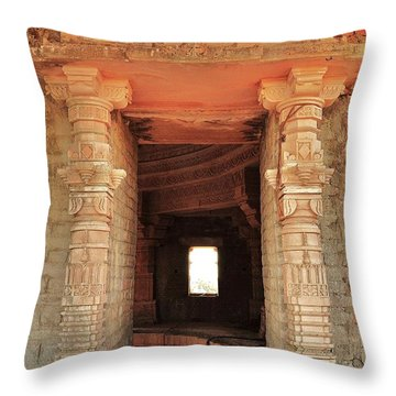 When Windows Become Art - Jain Temple - Amarkantak India Throw Pillow by Kim Bemis