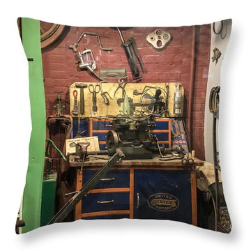 Garage Of Yesteryear Throw Pillow