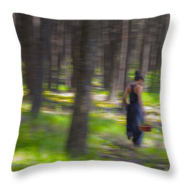 Through The Woods 2 Throw Pillow by Theresa Tahara
