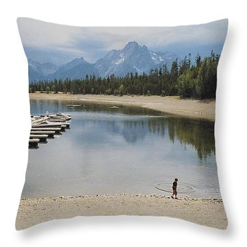 Throwing Rocks Throw Pillow