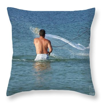 Throwing The Net Throw Pillow
