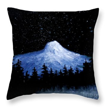 Throw Pillow featuring the painting Thumb Butte By Moonlight by Fred Wilson