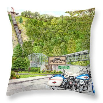 Throw Pillow featuring the painting Thunder In Johnstown by Albert Puskaric