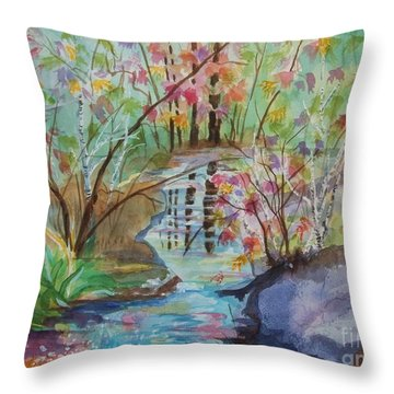 Throw Pillow featuring the painting Thunder Mountain Mystery by Ellen Levinson