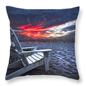 Thunderdawn Throw Pillow by Debra and Dave Vanderlaan