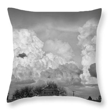 Thunderstorm Clouds And The Little House On The Prarie Bw Throw Pillow by James BO  Insogna