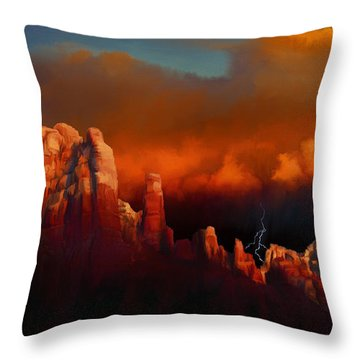 Thunderstorm Over Sedona Throw Pillow by Dale Jackson