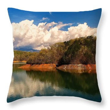 Thunderstorm Rolling Over The Smokies Throw Pillow by Chris Flees