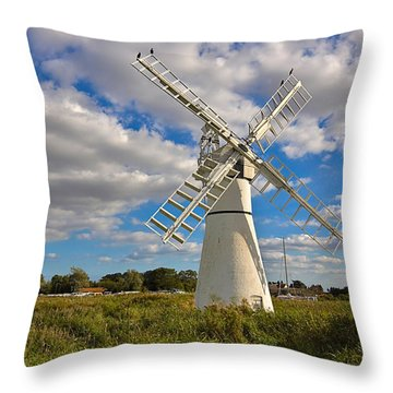 Thurne Dyke Windpump On The Norfolk Broads Throw Pillow by Louise Heusinkveld