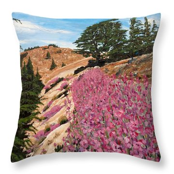 Throw Pillow featuring the painting The Cedar Tree by Ray Khalife