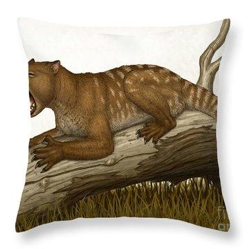 Thylacoleo Carnifex, A Marsupial Throw Pillow by Heraldo Mussolini