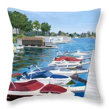 Throw Pillow featuring the painting T.i. Park Marina by Lynne Reichhart