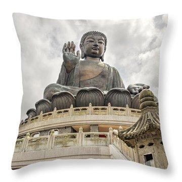 Tian Tan Buddha Throw Pillow by David Gn