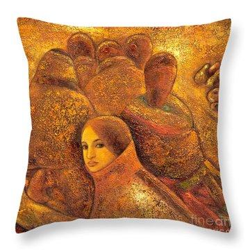 Tibet Golden Times Throw Pillow by Shijun Munns