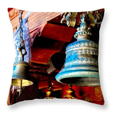 Tibetan Bells Throw Pillow