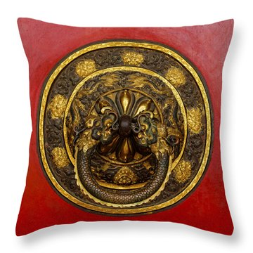 Tibetan Door Knocker Throw Pillow