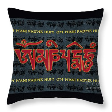 Tibetan Mantra Om Mani Padme Hum Throw Pillow