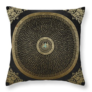 Tibetan Thangka - Green Tara Goddess Mandala With Mantra In Gold On Black Throw Pillow
