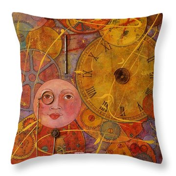 Throw Pillow featuring the painting Tic Toc by Jane Chesnut